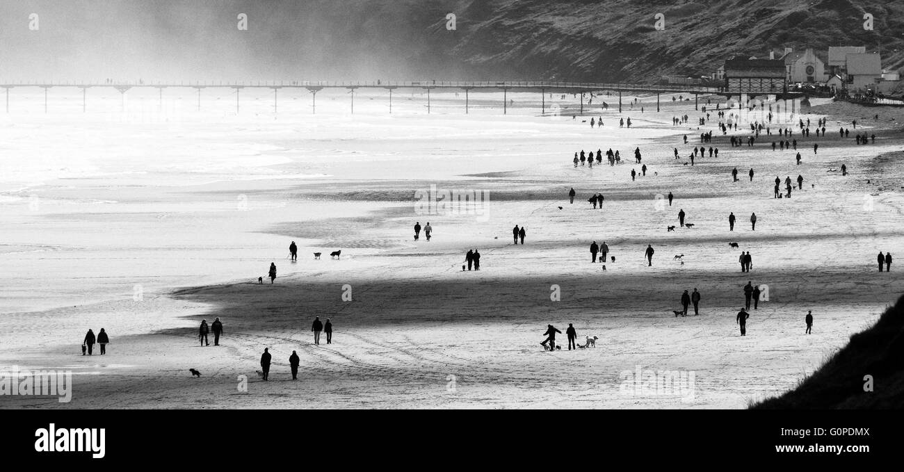 On the Beach, Sunday Morning, Marske Beach looking to Saltburn, Cleveland, North Yorkshire - Stock Image