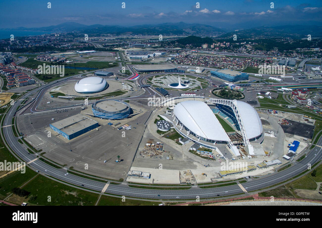 SOCHI, RUSSIA. MAY 2, 2016. An aerial view of the Fisht Stadium, a venue of the 2018 FIFA World Cup in Russia, in - Stock Image
