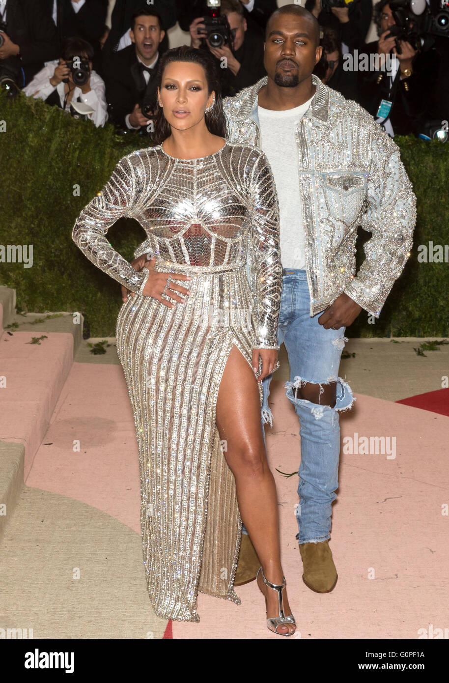 New York, USA. 2nd May, 2016. Kim Kardashian and Kanye West attend the Manus x Machina Fashion in an Age of Technology - Stock Image