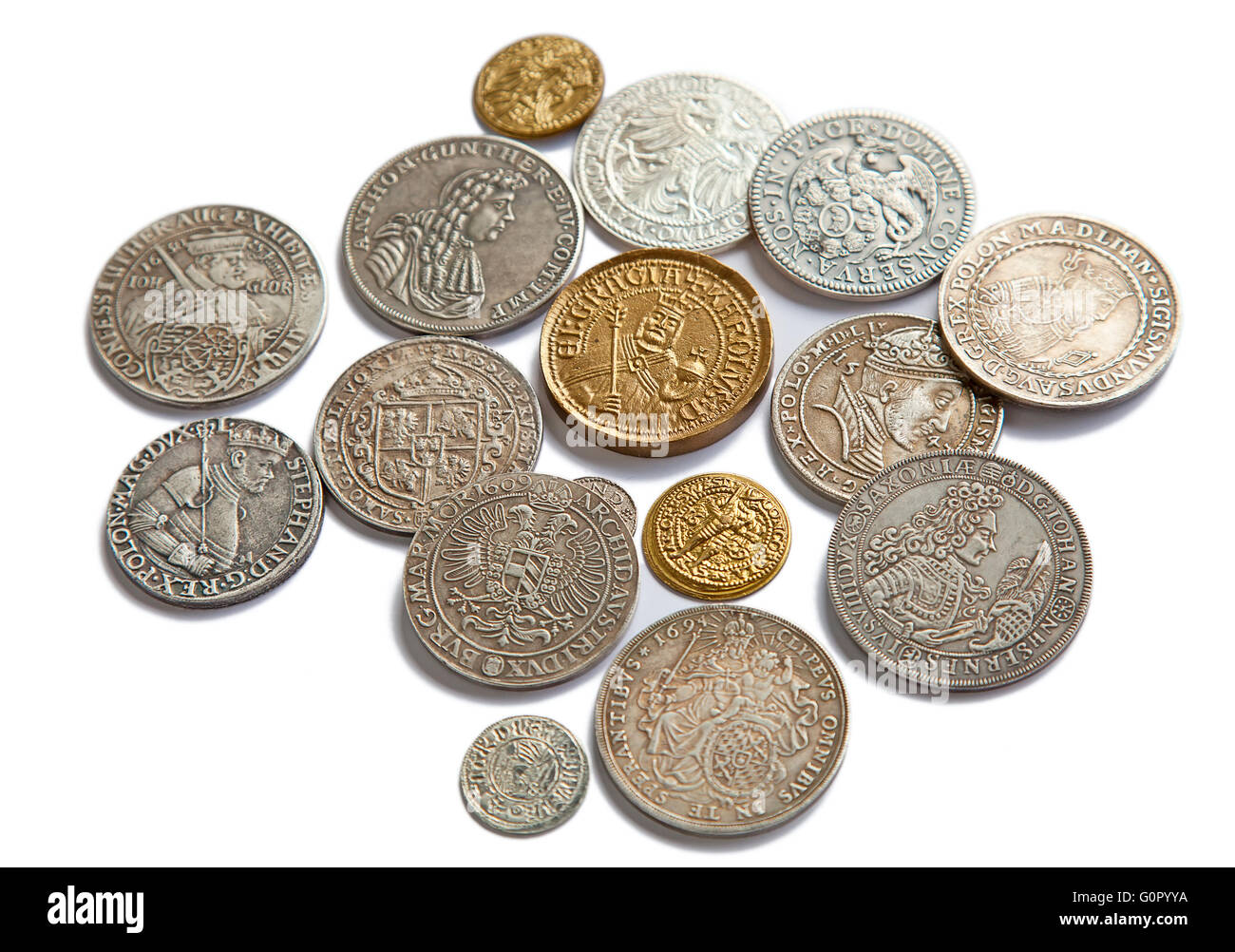 Collection of the medieval coins on the white background - Stock Image