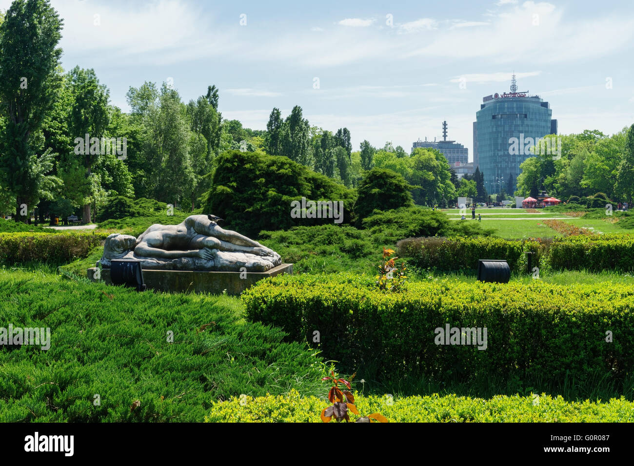 Flower garden at at Herastrau Park, Bucharest, Romania. - Stock Image