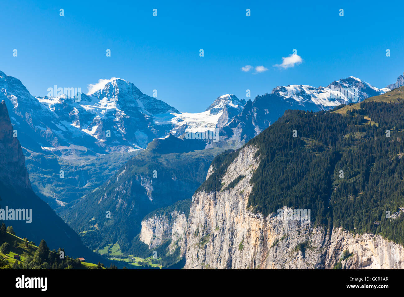 Panorama view of Breithorn and the Alps on Bernese Oberland and the Lauterbrunnen valley from Mannlichen station, - Stock Image