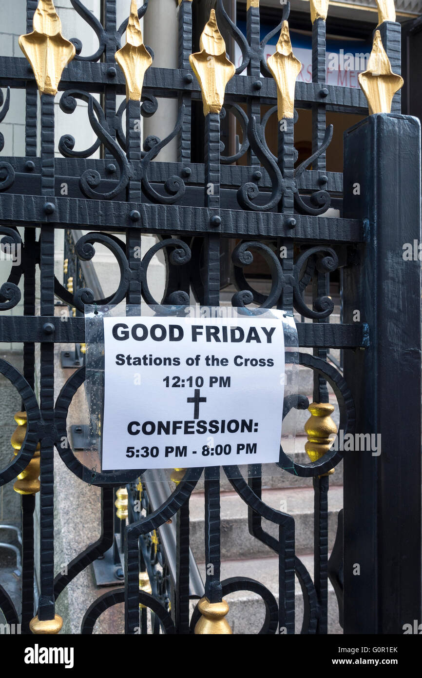 Notice for Catholic Good Friday services at a NYC church - Stock Image
