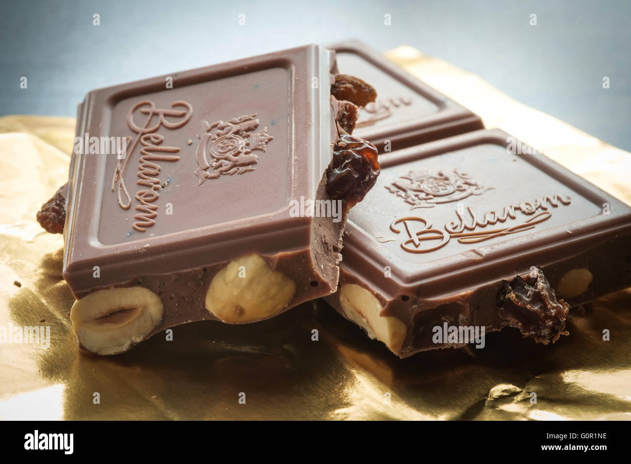 Pieces of Fruit and Nut Milk Chocolate - Stock Image