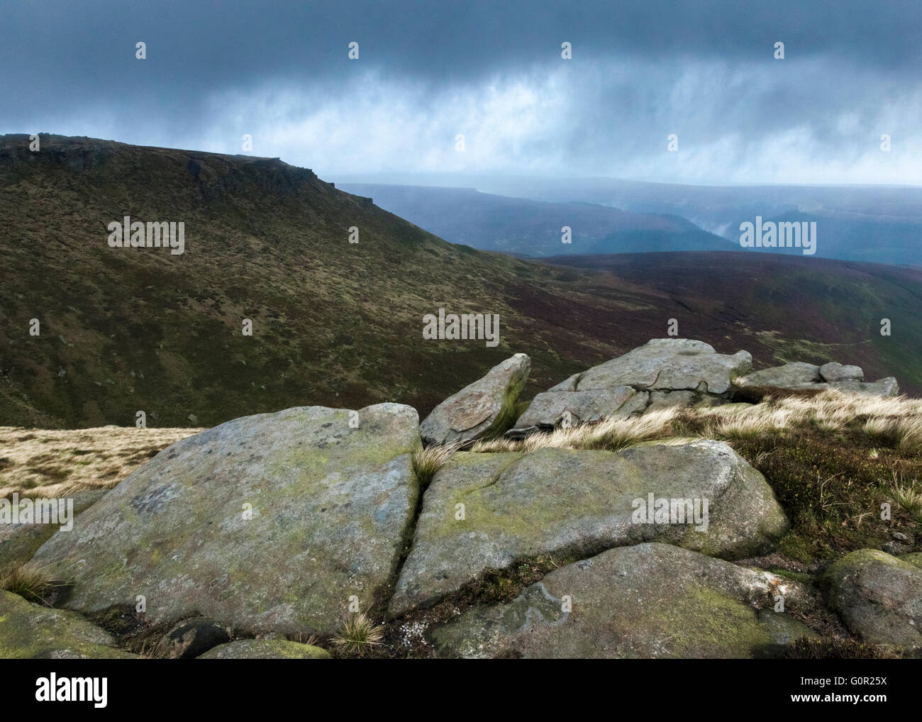 Bad weather on the moors around the Fairbrook and the northern edge of Kinder Scout, Derbyshire, Peak District, - Stock Image