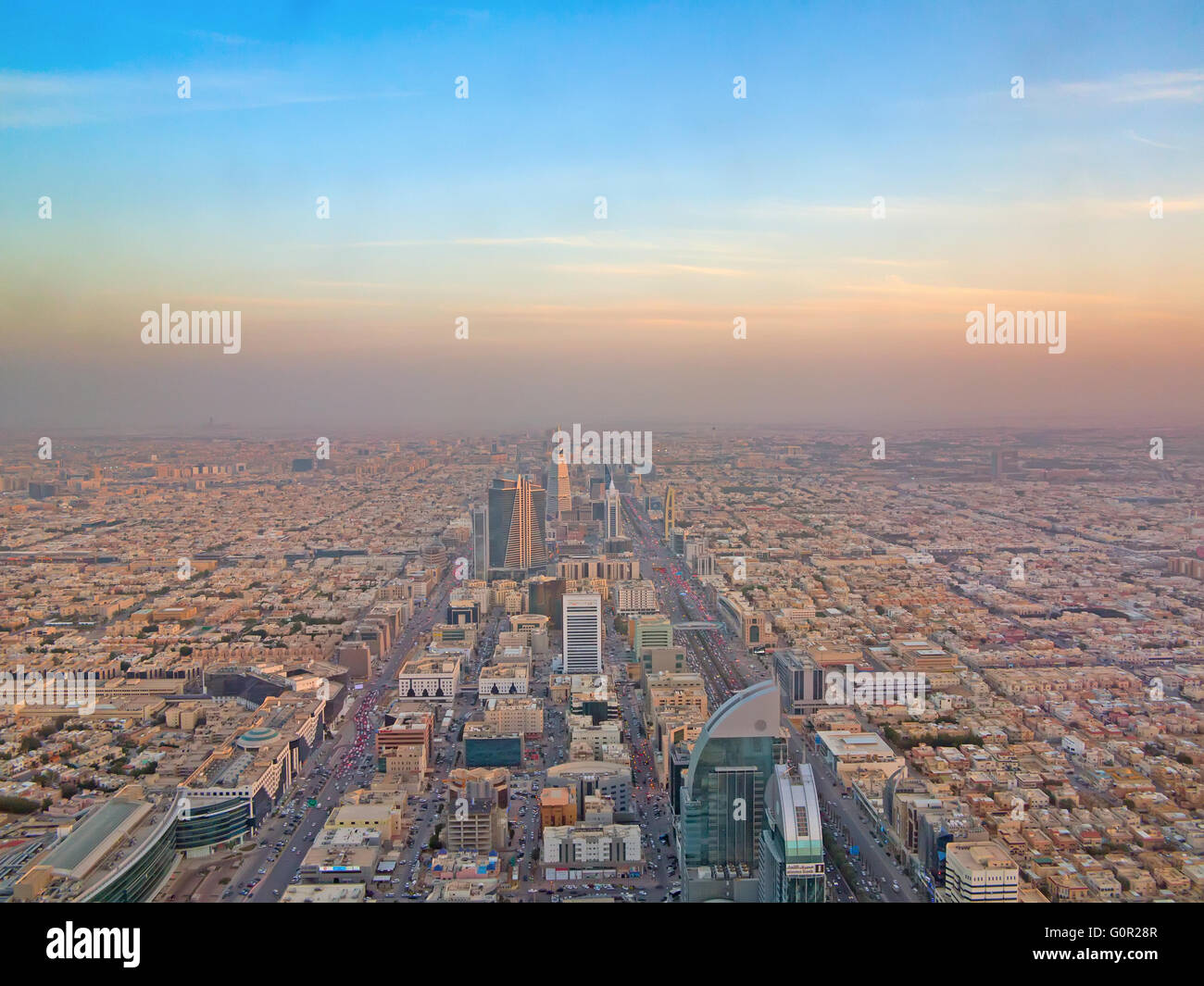 RIYADH - FEBRUARY 29: Aerial view of Riyadh downtown on February 29, 2016 in Riyadh, Saudi Arabia. - Stock Image