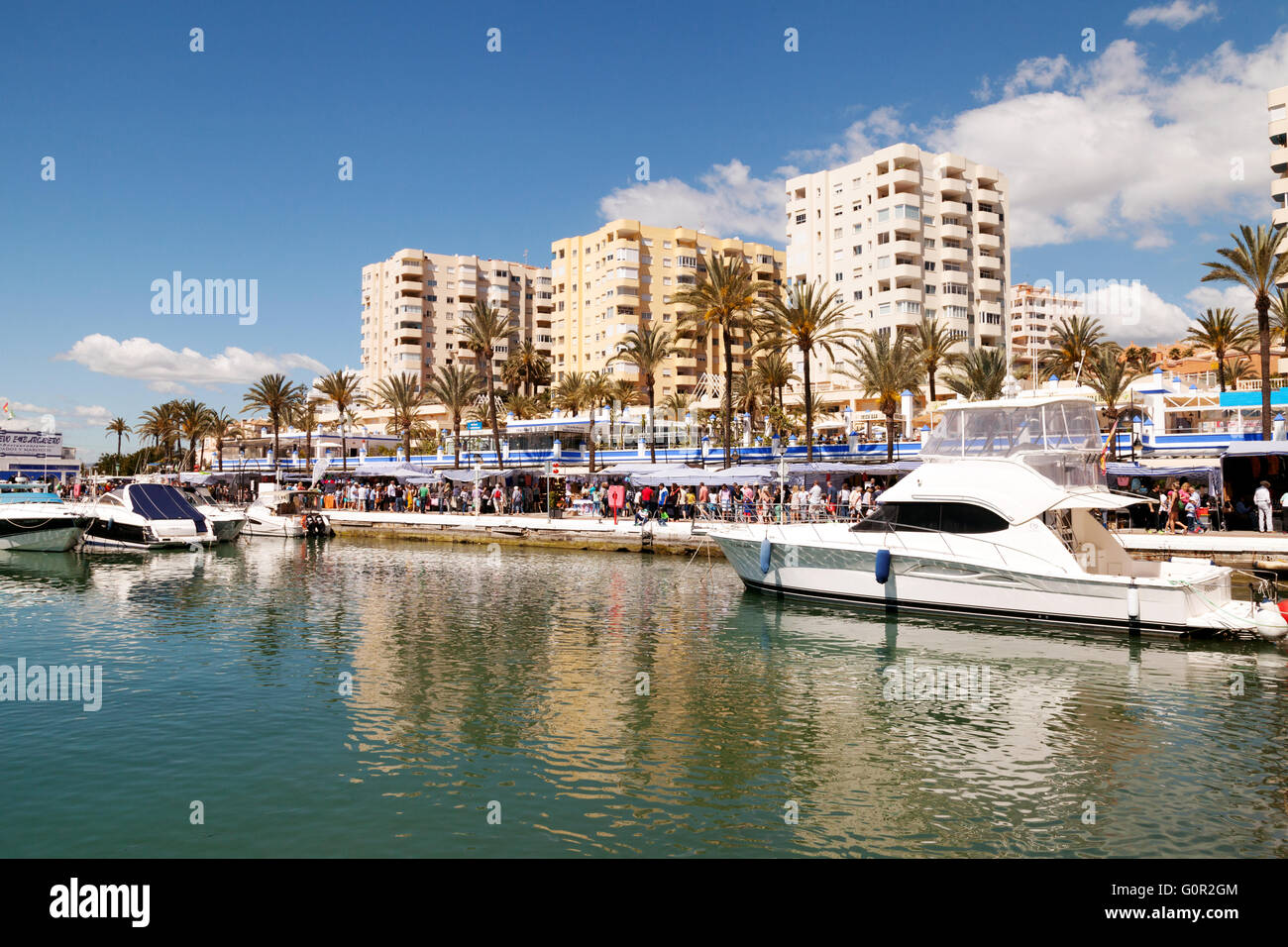Boats moored in the marina on a sunny day, Estepona, Costa del Sol, Andalusia, Spain Europe Stock Photo