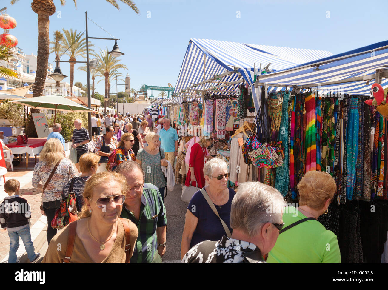 People shopping at Estepona market, Estepona, Costa del Sol, Andalusia, Spain Europe - Stock Image