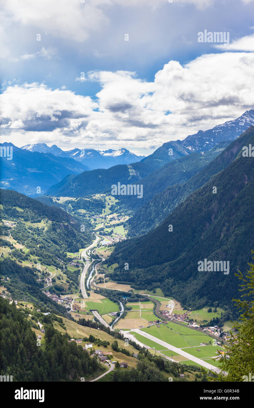 Beautiful view of the Piora Valley from top of Ritom station in Ticino, Switzerland. Stock Photo
