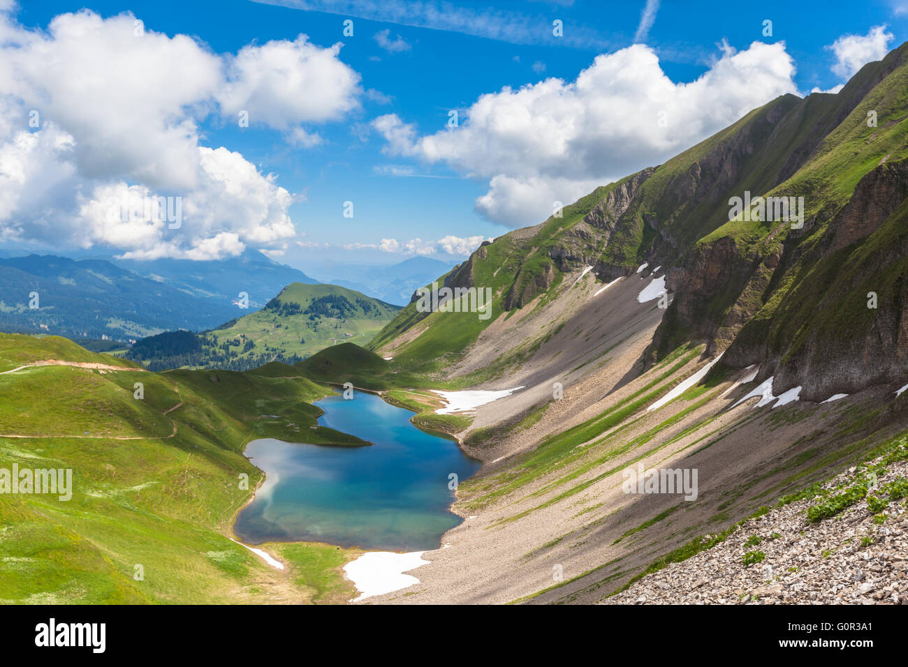 Aerial view of the Eisee (lake) near Brienzer Rothorn on Bernese Oberland, in Jungfrau region of Switzerland. Stock Photo