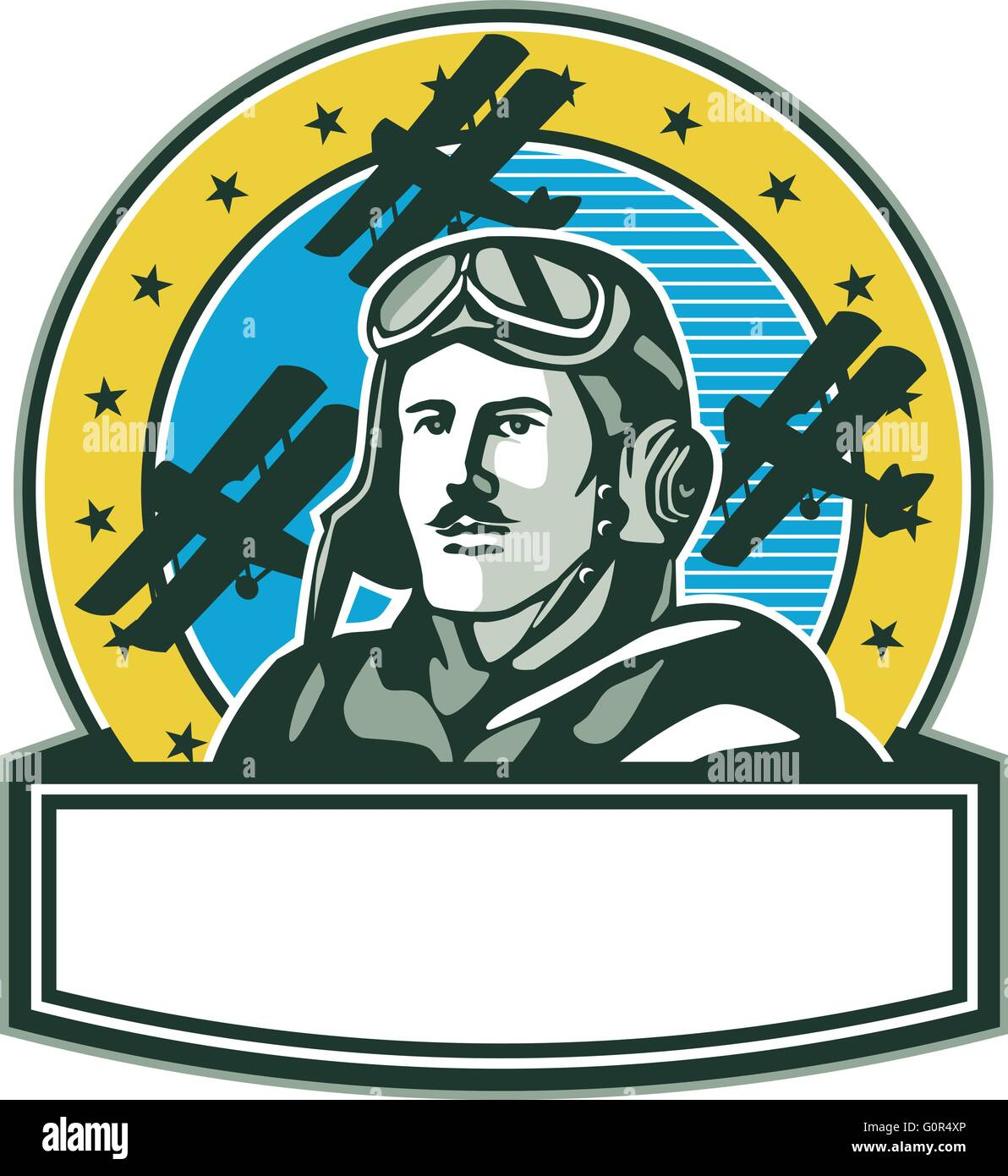 Illustration of a vintage world war one pilot airman aviator with mustache bust with spad biplane fighter planes - Stock Vector