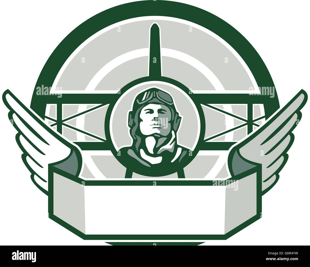 Illustration of a vintage world war one pilot airman aviator bust with spad biplane fighter plane front in background - Stock Vector