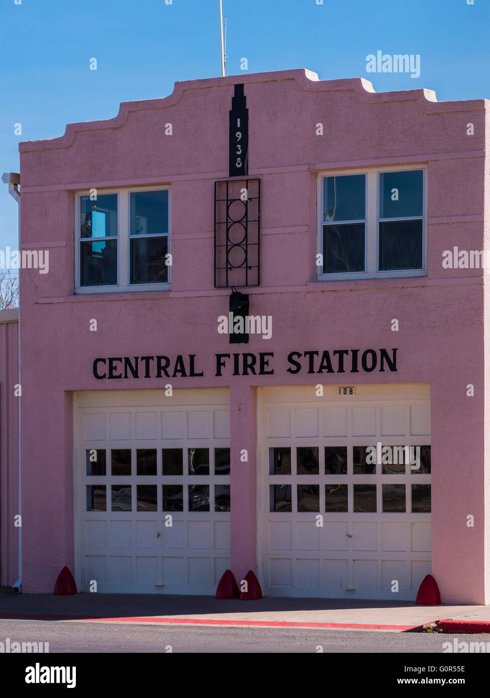 Central Fire Station, Marfa, Texas. - Stock Image