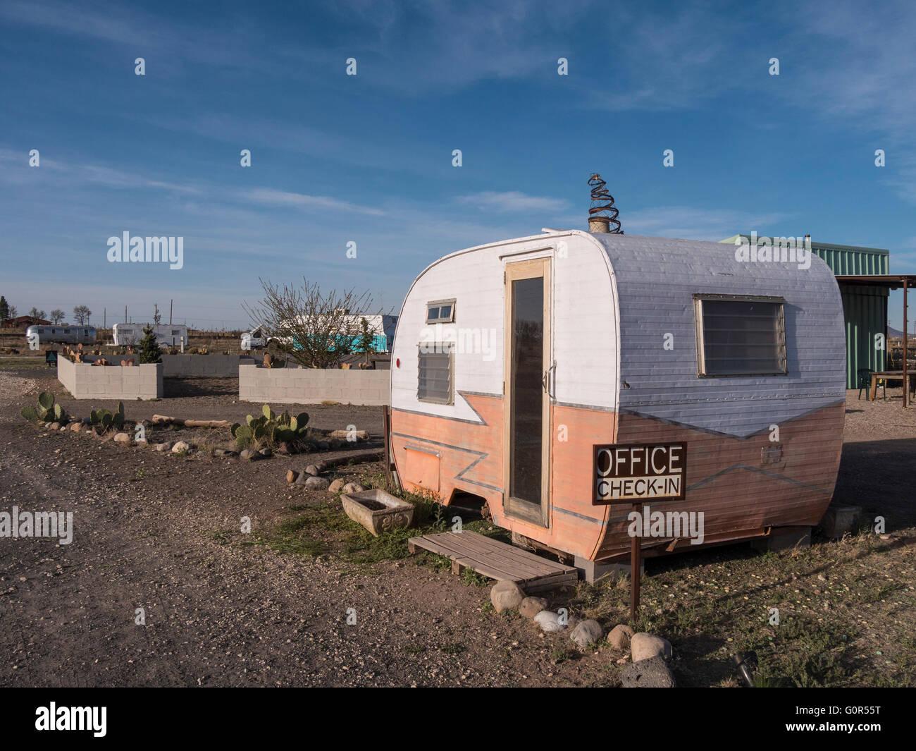 Office, Tumble In RV Park, Marfa, Texas. - Stock Image