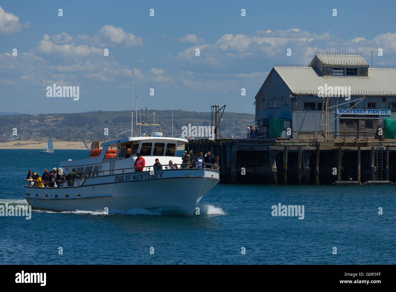Fisherman's Wharf and Harbor, Monterey Bay CA - Stock Image