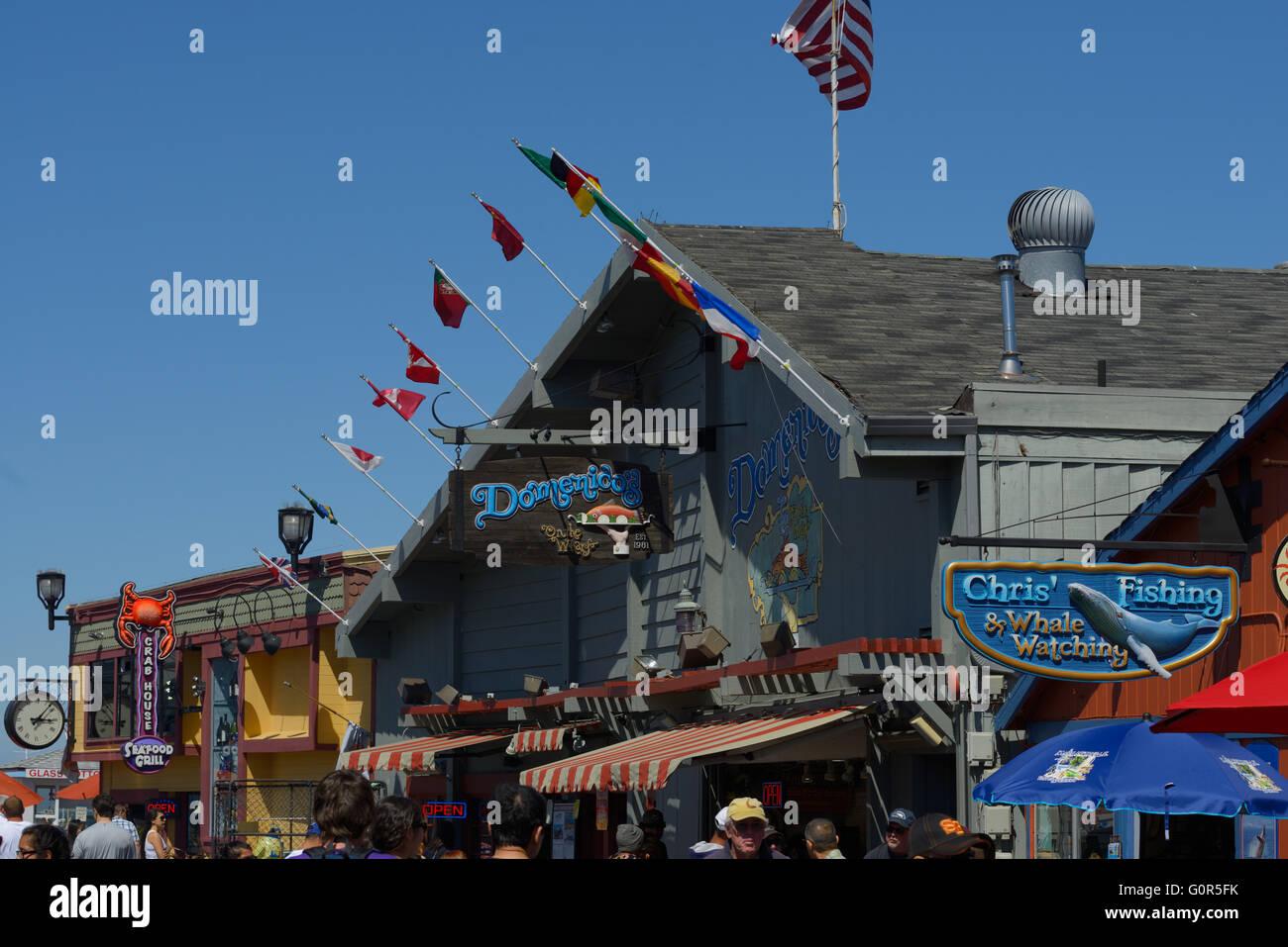 Fisherman's Wharf and Harbor, Monterey Bay CA - Stock Image