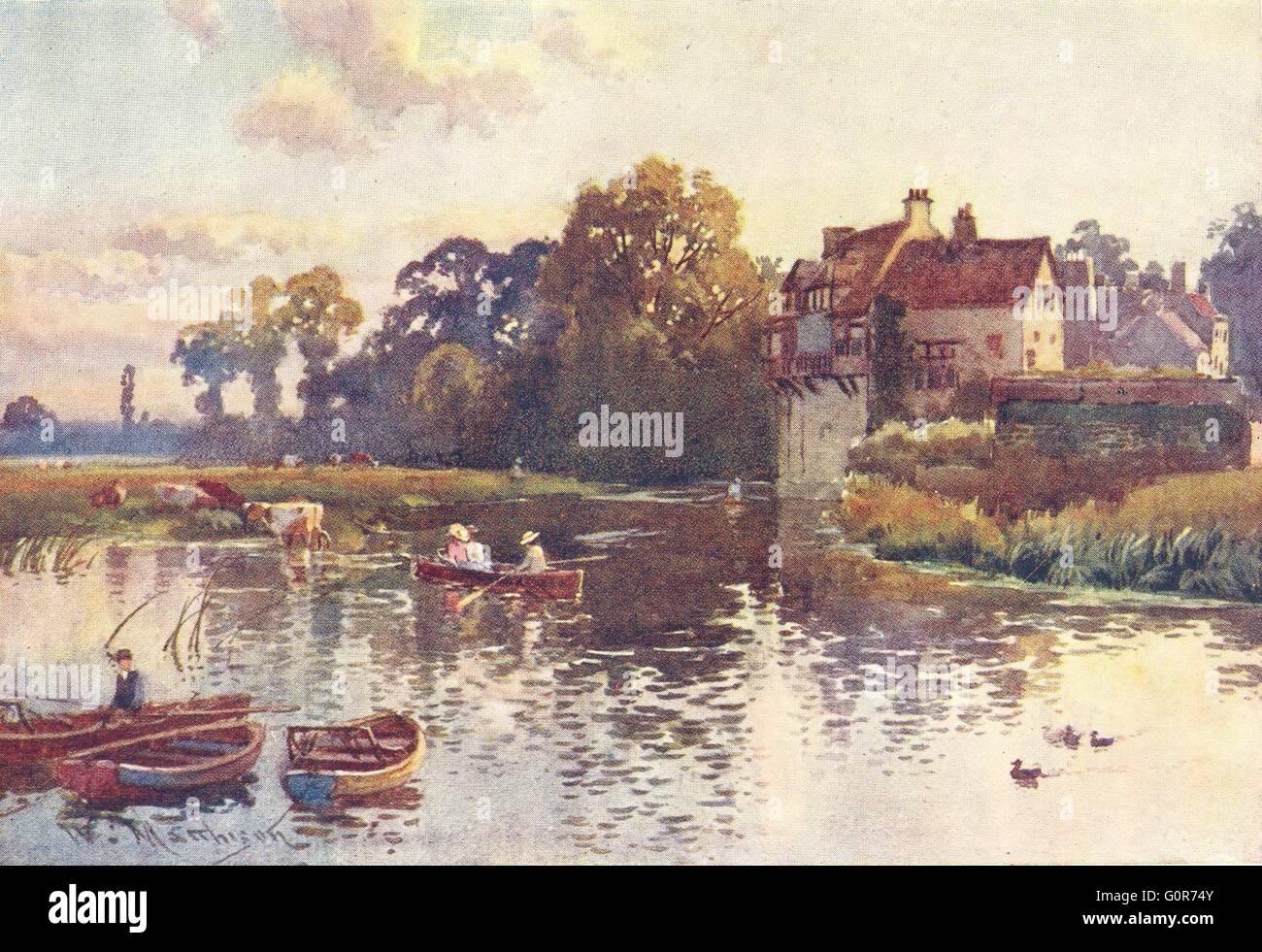 CAMBRIDGE: Granary, Cam, antique print 1907 - Stock Image