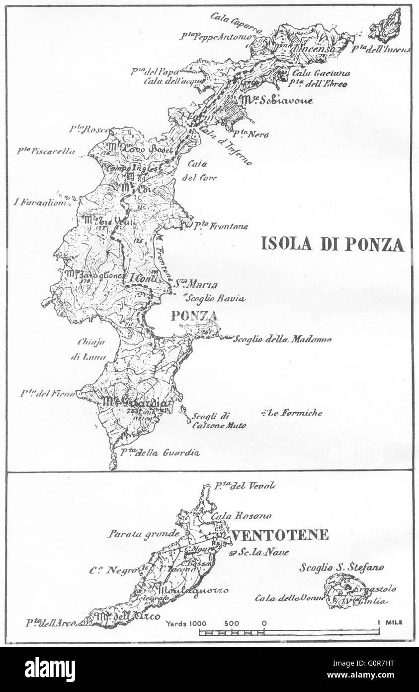 Italy Ponza Ventotene 1945 Vintage Map Stock Photo 103773092