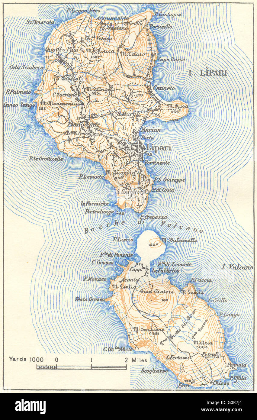 ITALY Lipari Vulcano 1945 vintage map Stock Photo 103773100 Alamy