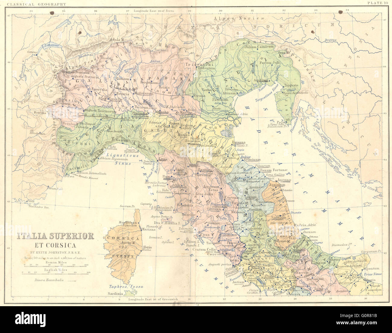 Italy Italia Superior Corsica 1880 Antique Map Stock Photo