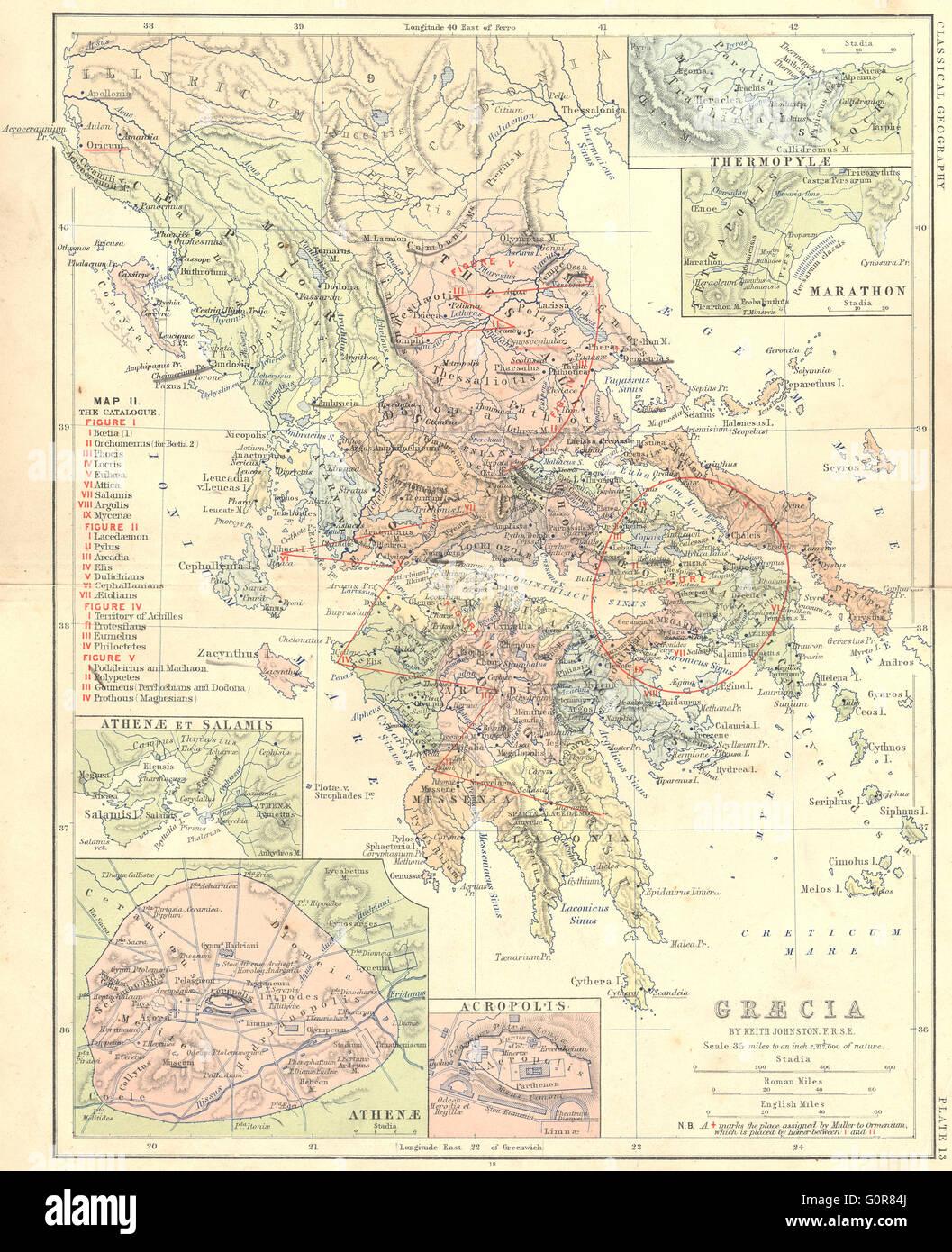 Greece Thermopylae Marathon Athens Salamis 1880 Antique Map