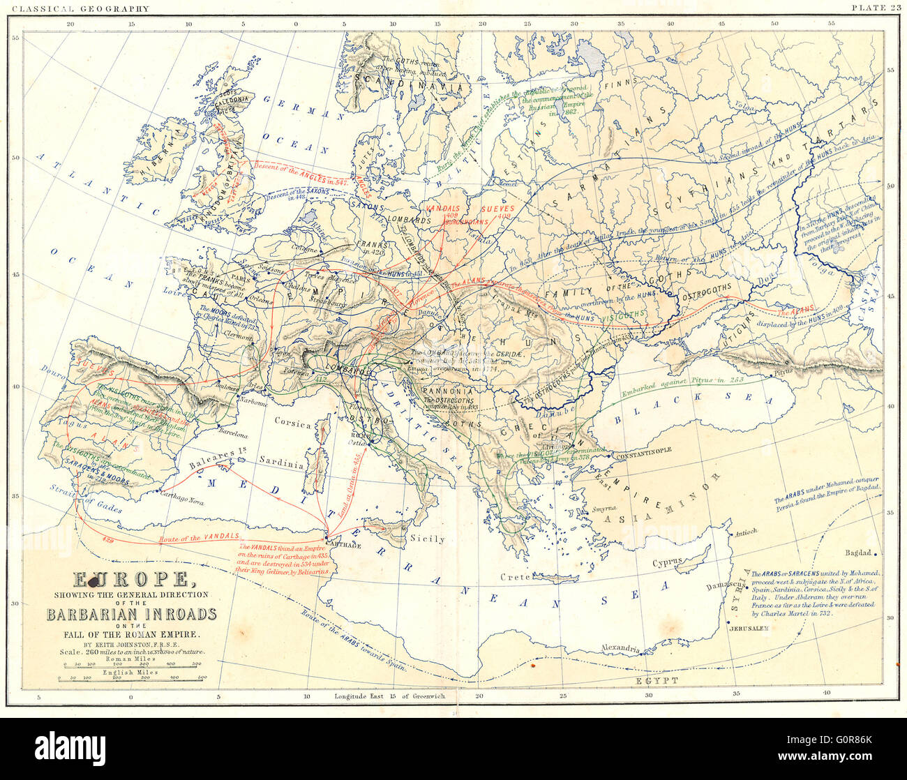Europe Barbarian Inroads Fall Of Roman Empire 1880 Antique Map