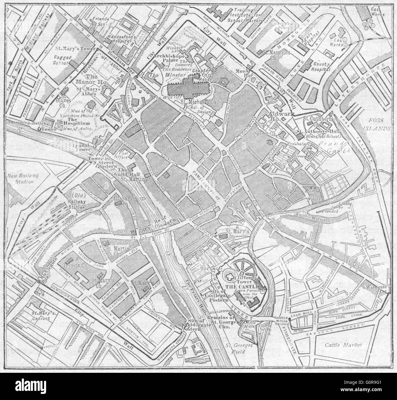 YORKS: York, sketch map, 1898 - Stock Image
