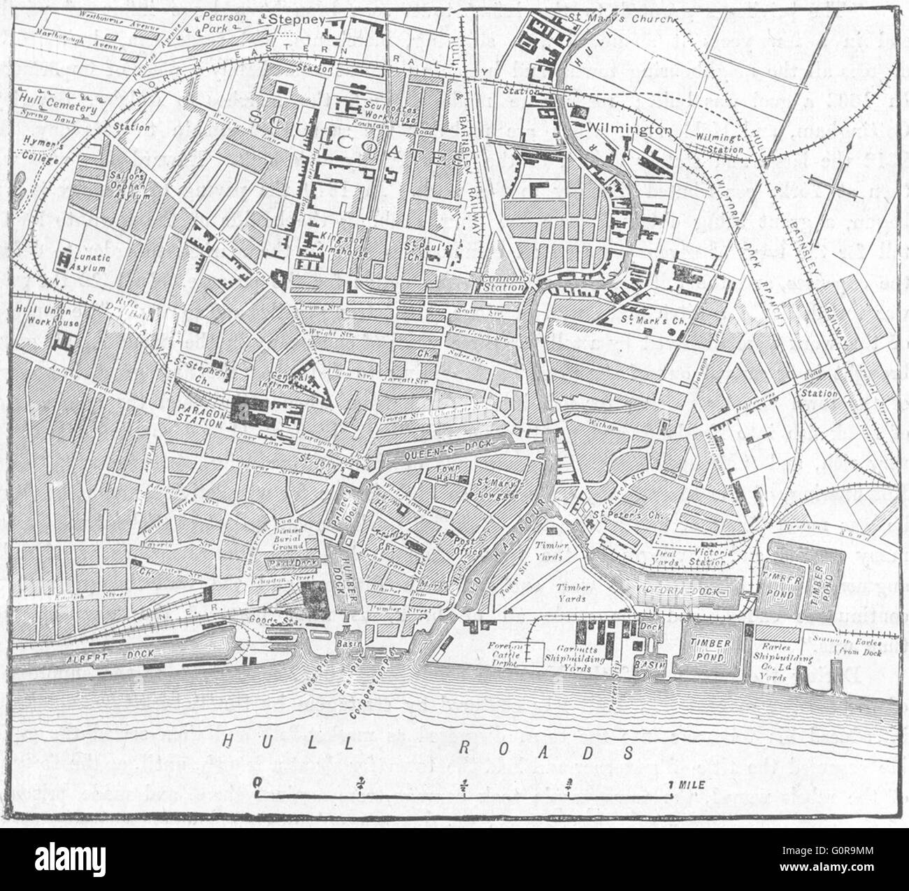 YORKS: Hull, sketch map, 1898 - Stock Image