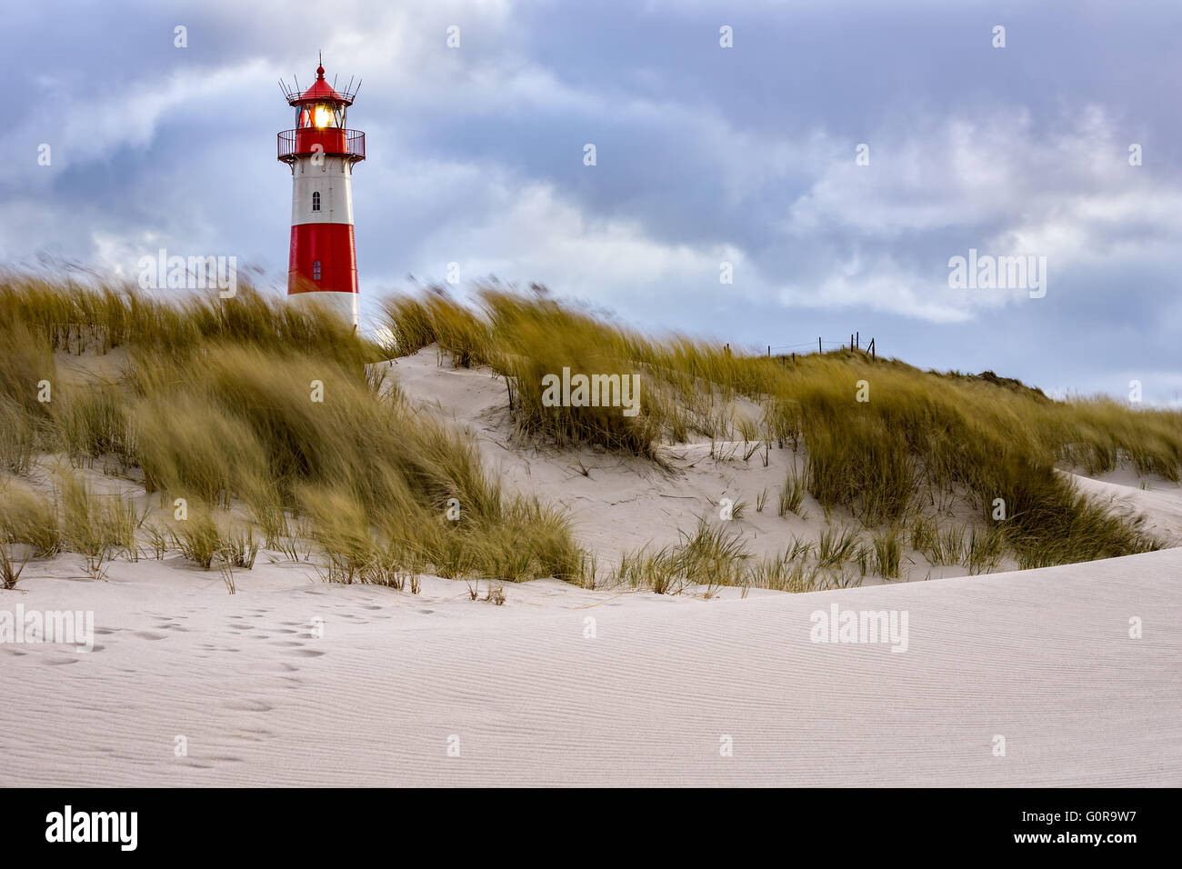 Stormy Weather - Lighthouse at List - Sylt, Germany - Stock Image