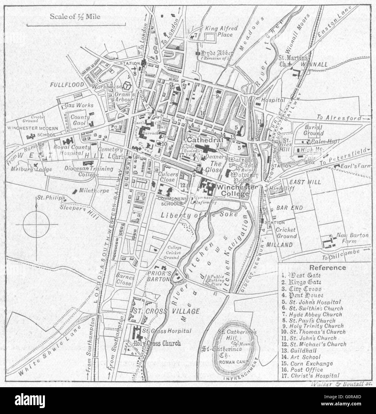 HANTS: Winchester, sketch map, 1898 - Stock Image