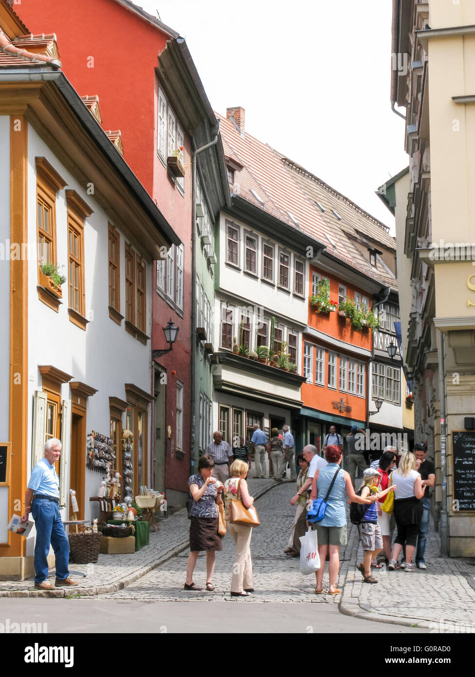 Tourists in shopping street in the city centre of Erfurt, Thuringen, Germany - Stock Image