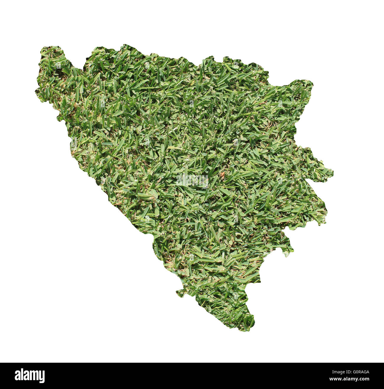 Map of Bosnia and Herzegovina filled with green grass, environmental and ecological concept. - Stock Image