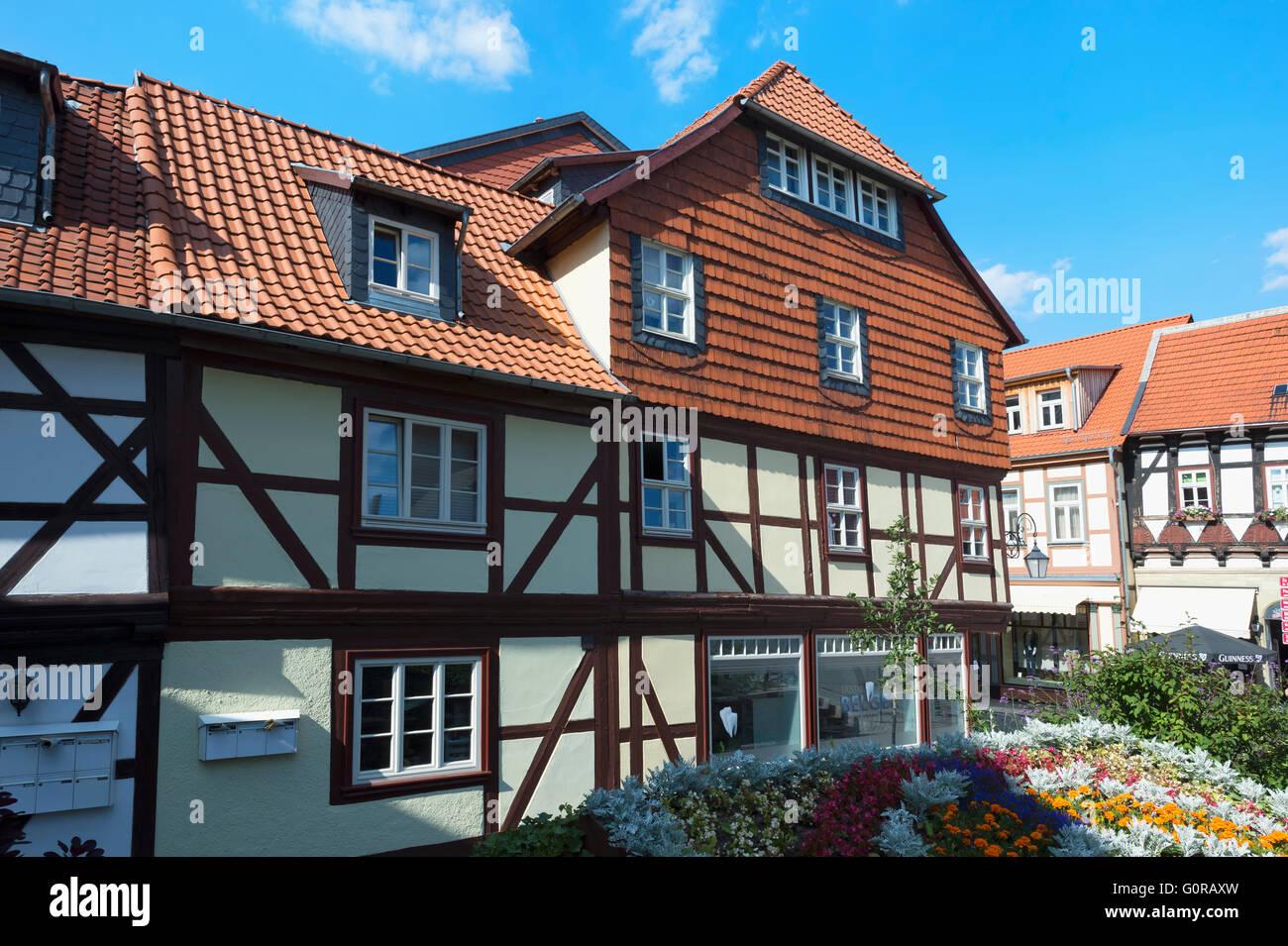 Half-timbered houses, Wernigerode, Harz, Saxony-Anhalt, Germany - Stock Image
