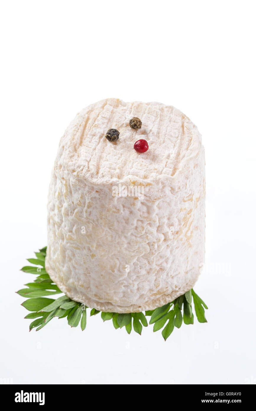 french goats cheeses on white  background - Stock Image