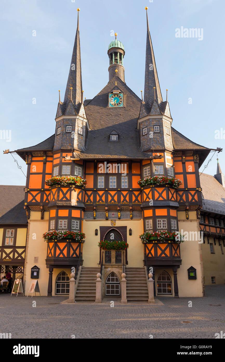 Wernigerode City Hall, Harz, Saxony-Anhalt, Germany - Stock Image