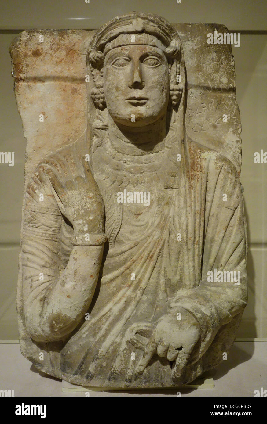 3C funerary bust from ancient city of Palmyra in Syria Middle East displayed in LACMA Los Angeles - Stock Image