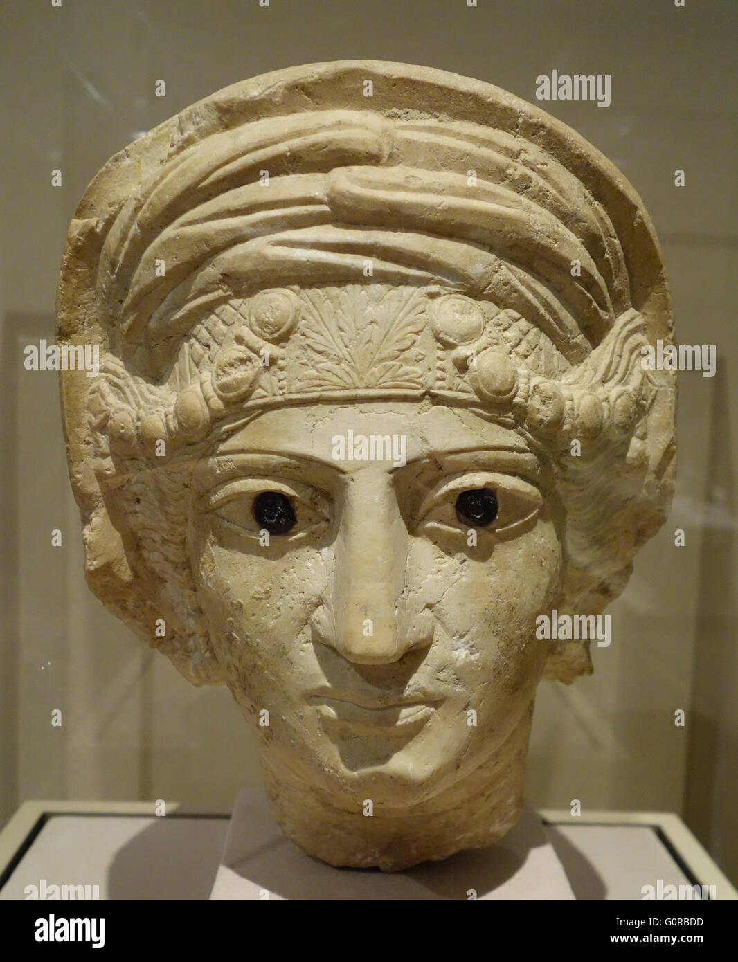 3C funerary head from Palmyra, Syria displayed in LACMA, Los Angeles, California Stock Photo