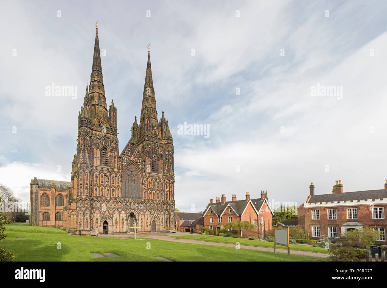 Lichfield Cathedral, Lichfield, Staffordshire, England, UK - Stock Image