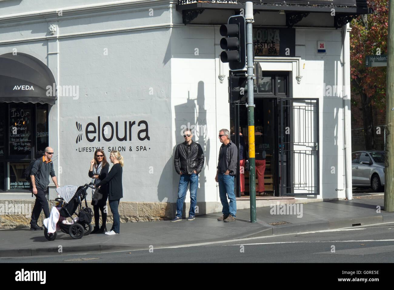 People Mingling Outside A Beauty Salon In Inner Sydney