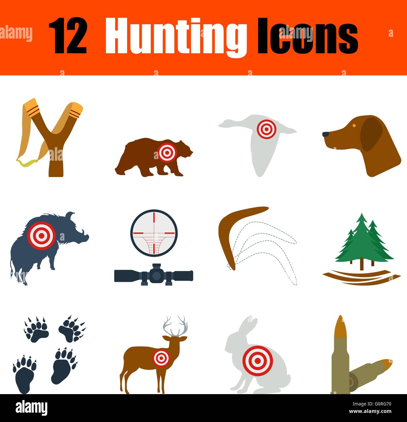 Flat design hunting icon set in ui colors. Vector illustration. Stock Vector
