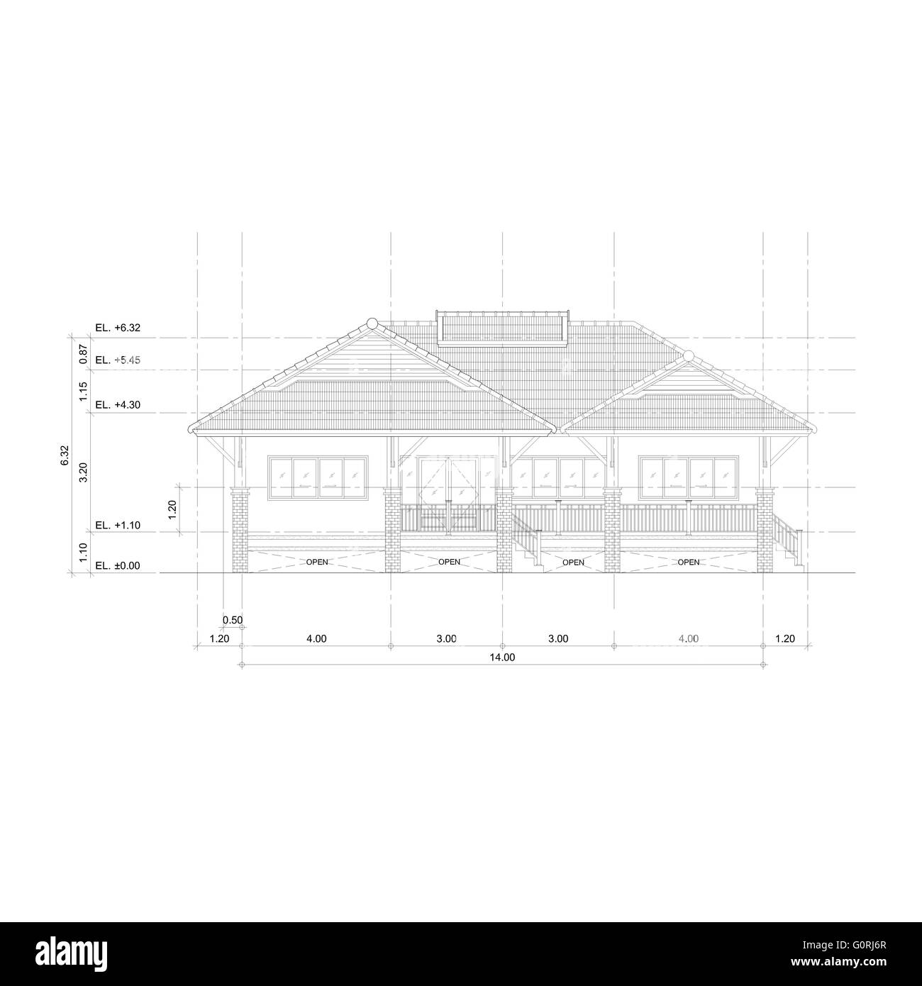 Front Elevation Stock Images : Thai style home designs drawing front view elevation plan