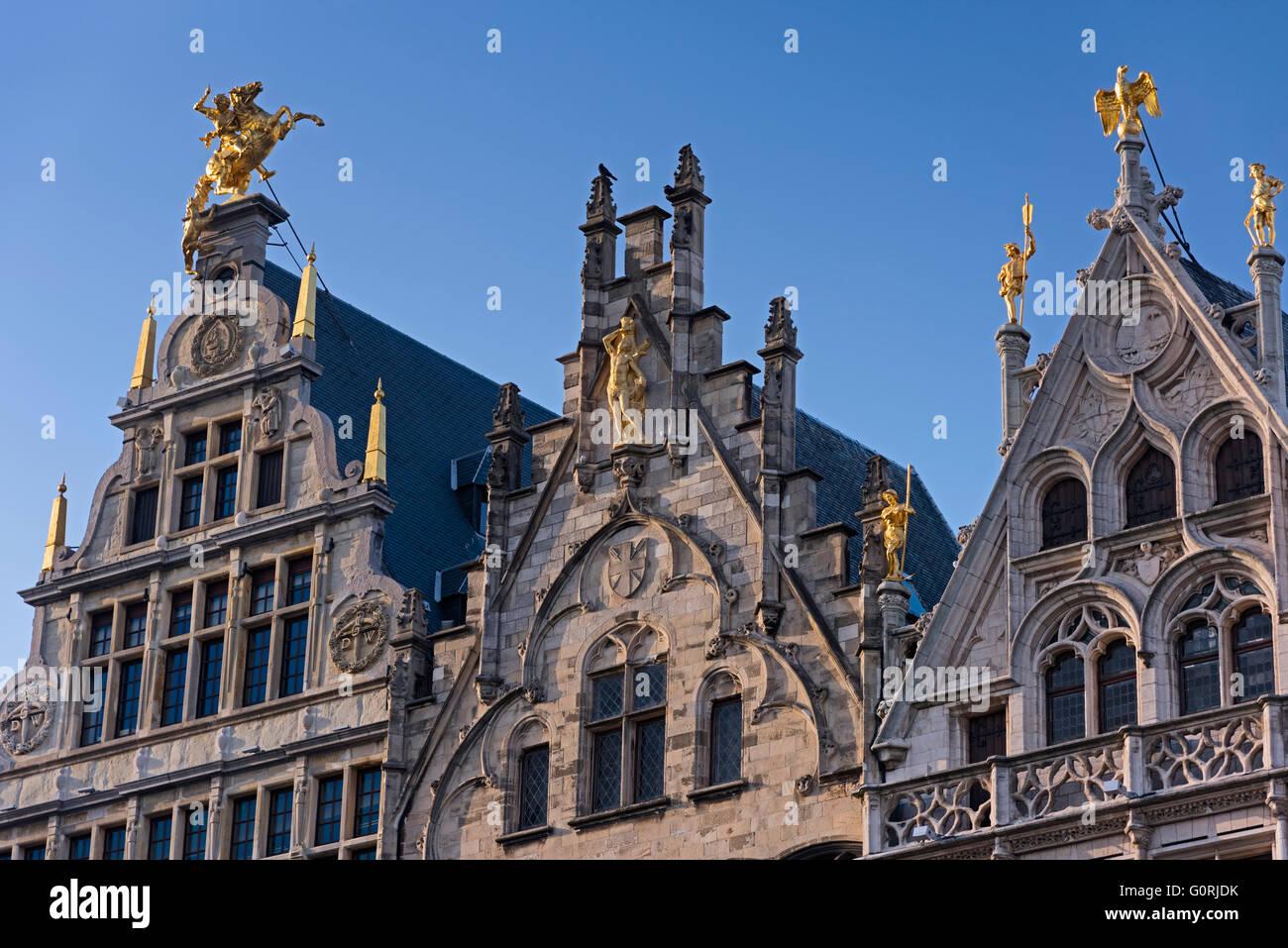 Guildhouses on the Grote Markt Antwerp Belgium Stock Photo
