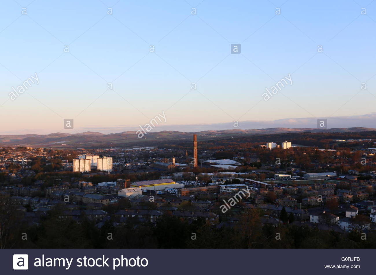 Elevated view of Lochee and Cox's Stack chimney Dundee at dawn Scotland  April 2016 - Stock Image