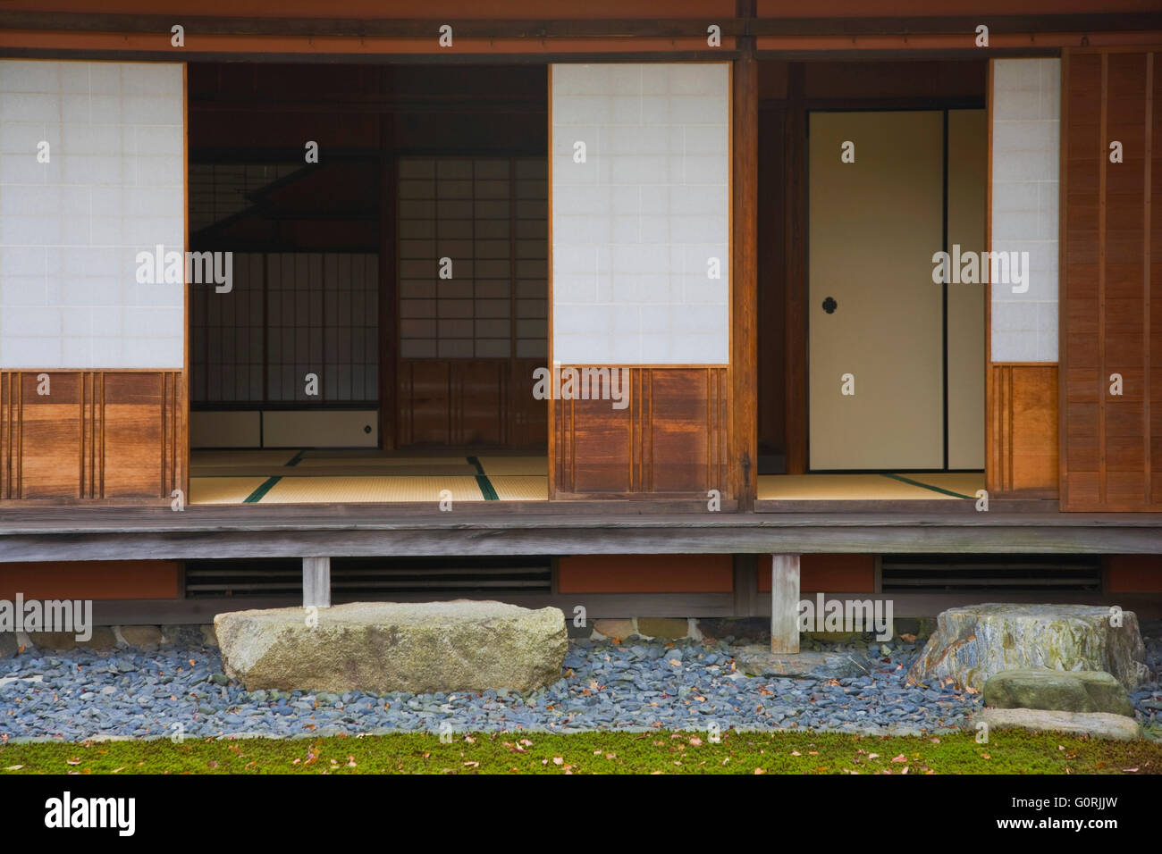 An Exterior View Shows The Shoe Removing Step Stones Wooden Veranda Stock Photo Alamy