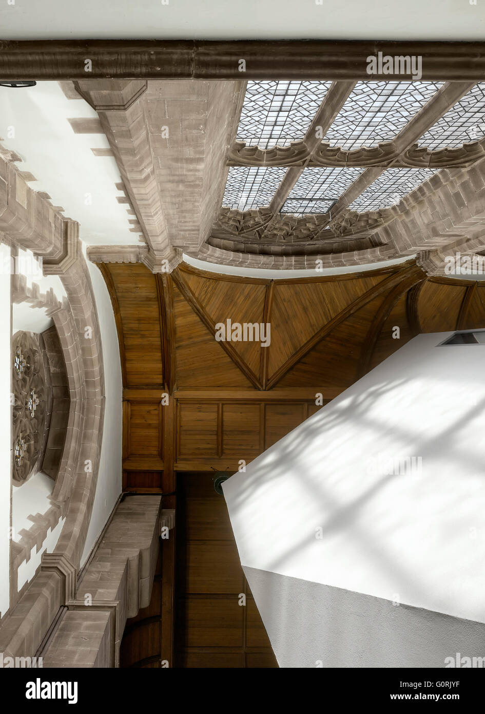All Souls, Bolton, England. Angled view looking up at wood ceiling of the church. - Stock Image