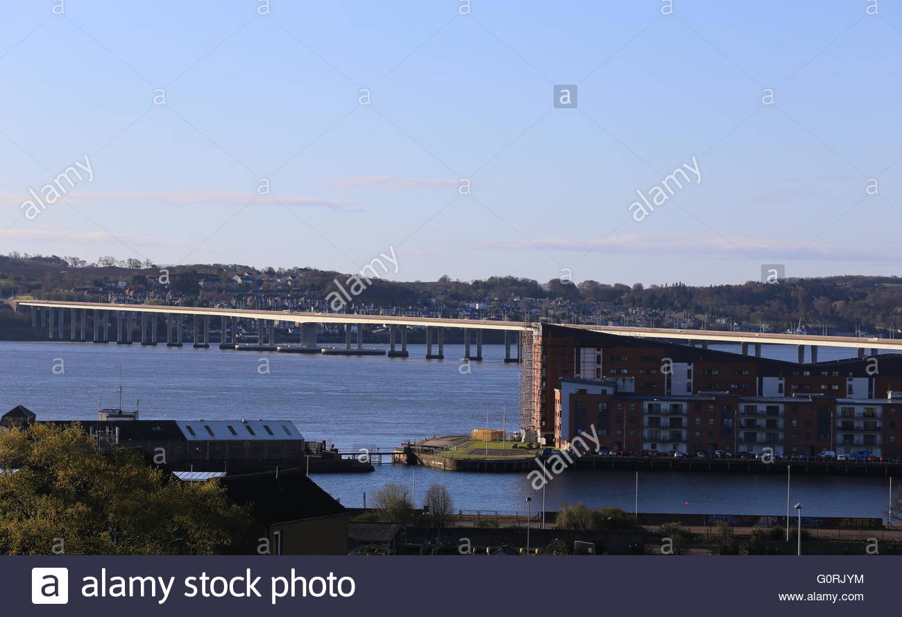 Tay Road Bridge and City Quay Dundee Scotland  April 2016 - Stock Image