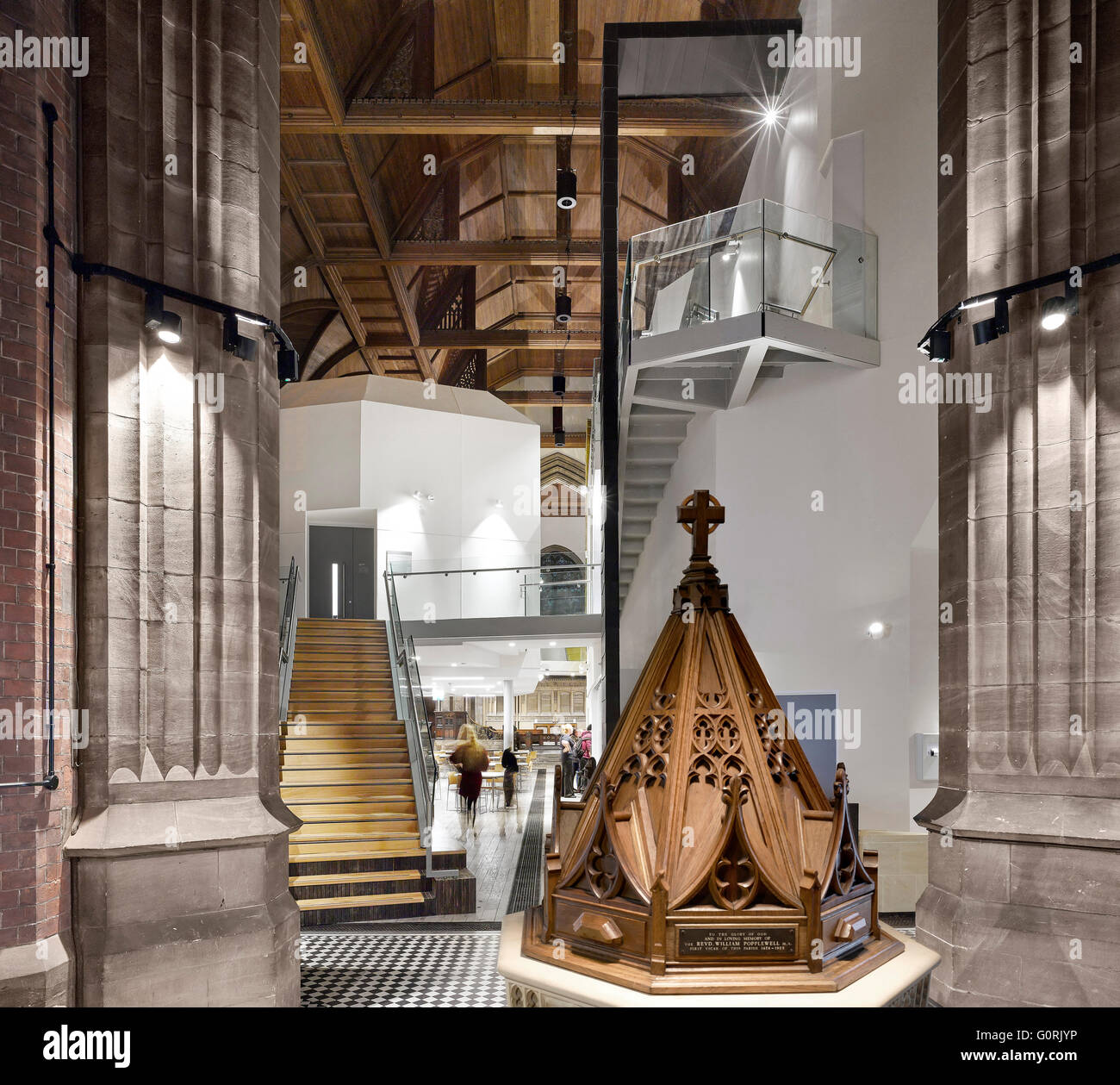 All Souls, Bolton, England. View of a model spire and contemporary interior of the church. - Stock Image