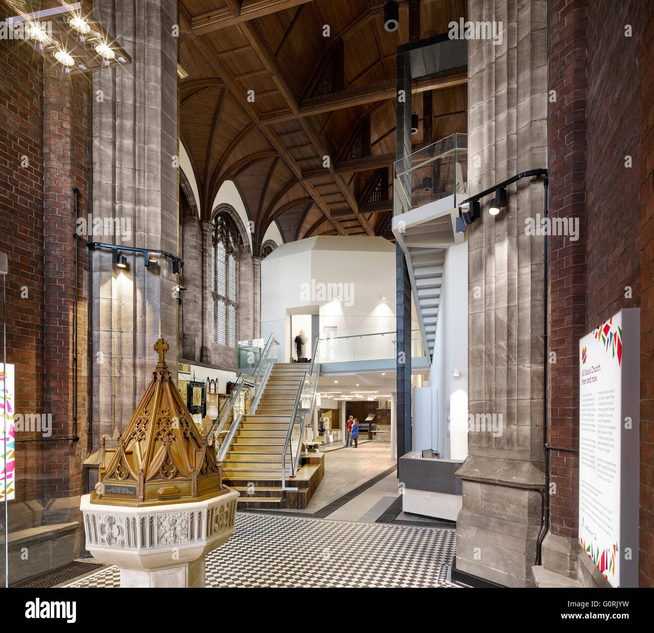All Souls, Bolton, England. Mix of the traditional and contemporary design inside the church. - Stock Image