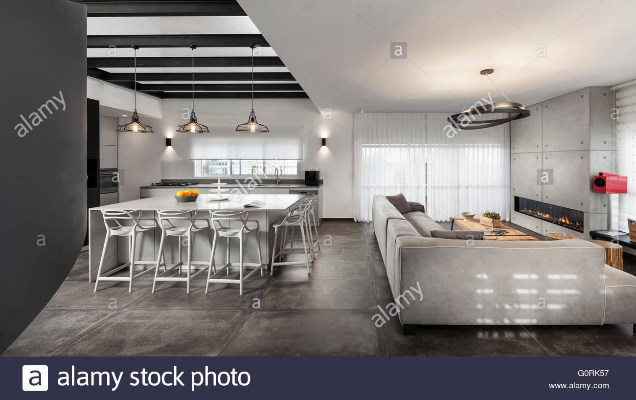 Modern Cool Penthouse. Open Plan Kitchen And Living Room With Modern  Furniture.