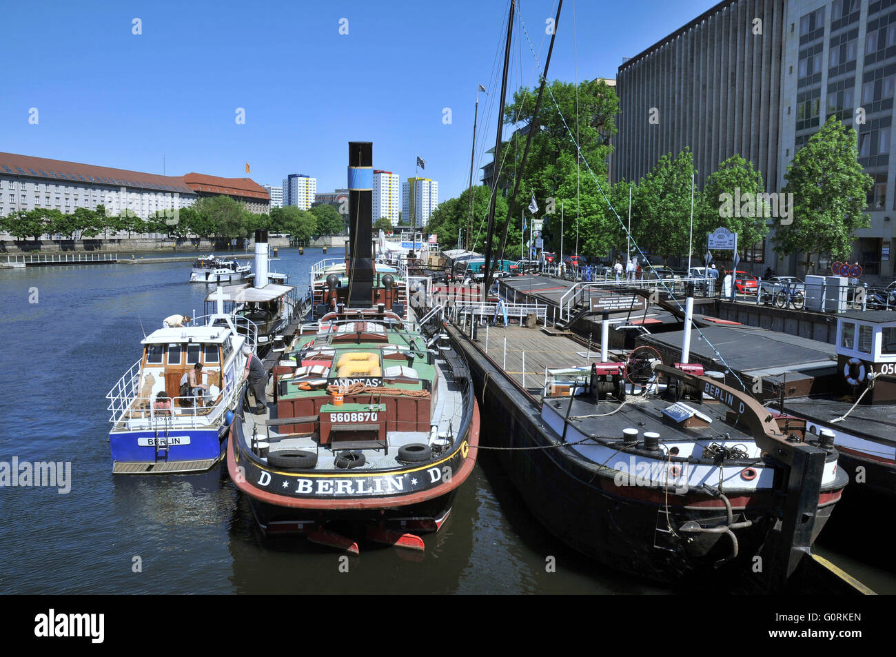 Historic Harbour, Markisches Ufer, Mitte, Berlin, Germany / Historischer Hafen, M?rkisches Ufer, Shore of the Mark - Stock Image